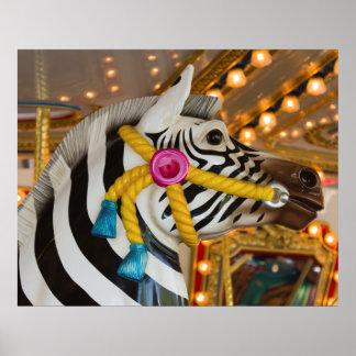 シマウマの馬のメリーゴーランドの回転木馬の乗車 ポスター