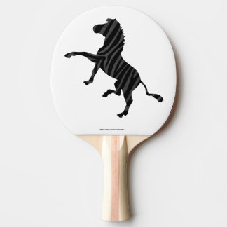 シマウマの黒いおよび灰色のプリントのシルエット 卓球ラケット