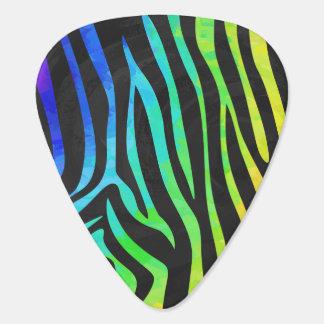 シマウマの黒および虹のプリント ギターピック