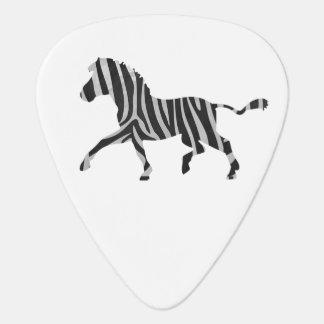 シマウマの黒く、薄い灰色のシルエット ギターピック