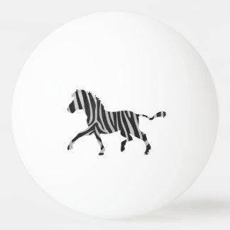 シマウマの黒く、薄い灰色のシルエット 卓球ボール