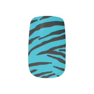シマウマのMinx®の明るく青いネイルシール ネイルアート