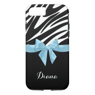 シマウマは名前のスカイブルーの弓と縞で飾ります iPhone 7ケース