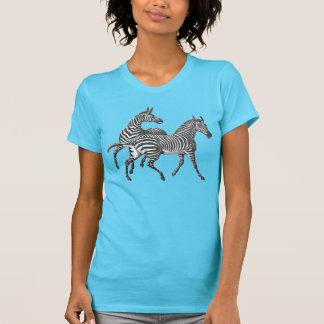 シマウマは女性ワイシャツを結び付けます Tシャツ