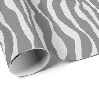 シマウマは-灰色の色合いを縞で飾ります ラッピングペーパー