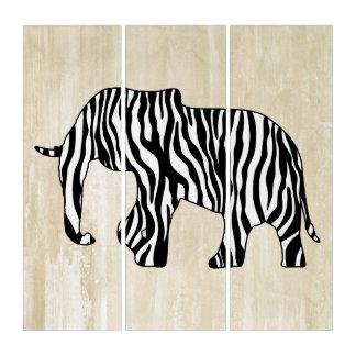 シマウマを持つ象は縞で飾ります + あなたのアイディア トリプティカ