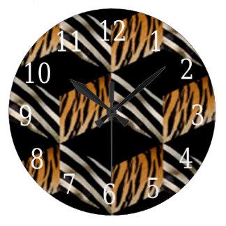 シマウマ及びトラの円形の時計 ウォールクロック