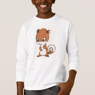 シマリスのキャラクターの長袖のワイシャツの子供 Tシャツ