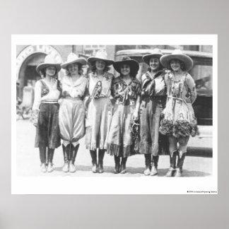 シャイエンヌのフロンティア日の6人の女性のカーボーイ ポスター