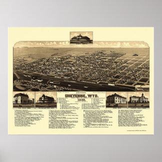 シャイエンヌのWYのパノラマ式の地図- 1882年 ポスター