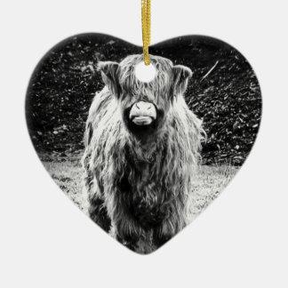 シャギーな高地牛写真(黒及び白) セラミックオーナメント