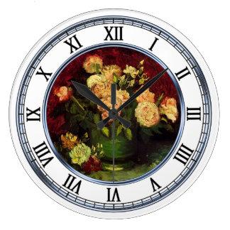 シャクヤクおよびバラ、フィンセント・ファン・ゴッホが付いているボール ラージ壁時計