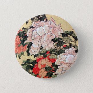 シャクヤクおよび蝶Hokusai 5.7cm 丸型バッジ
