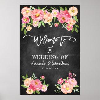 シャクヤクによっては私達の結婚式に黒板の歓迎が開花します ポスター