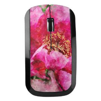 シャクヤクの水彩画のピンク ワイヤレスマウス