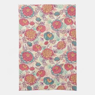 シャクヤクの花および葉パターン キッチンタオル
