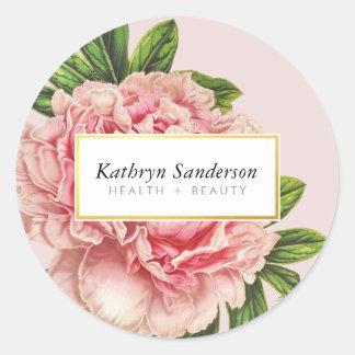 シャクヤクの花のエコの花のスタイリッシュなイラストレーションのピンク 丸形シールステッカー