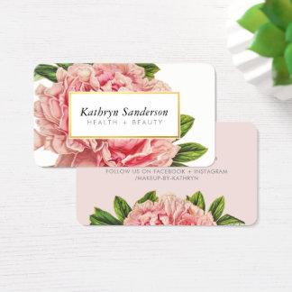 シャクヤクの花のエコの花のスタイリッシュなイラストレーションのピンク 名刺