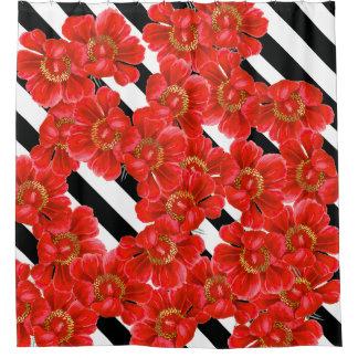 シャクヤクの花の花柄のストライプなシャワー・カーテン シャワーカーテン