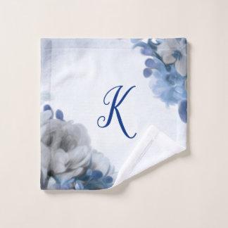 シャクヤクの花束-青及び灰色-最初のWashcloth ウォッシュタオル