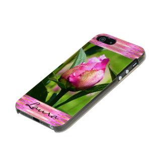 シャクヤクの芽のかわいらしくガーリーなモノグラムの メタリックiPhone SE/5/5sケース