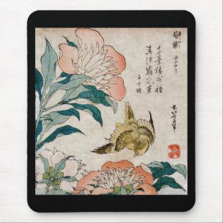 シャクヤク及びカナリア-日本のな芸術のマウスパッド マウスパッド
