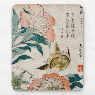 シャクヤク及びカナリア-日本のな芸術のマウスパッド-十分に マウスパッド