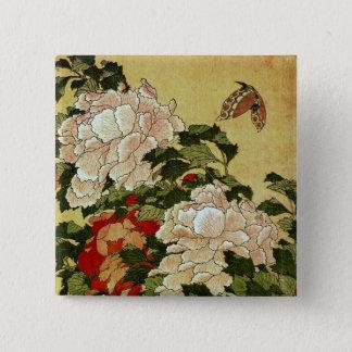 シャクヤク及び蝶Hokusaiの日本人のファインアート 5.1cm 正方形バッジ