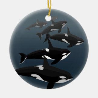 シャチのクジラのオーナメントの名前入りなクジラのオーナメント セラミックオーナメント