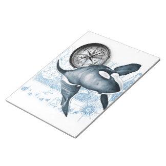 シャチのクジラのコンパス ノートパッド