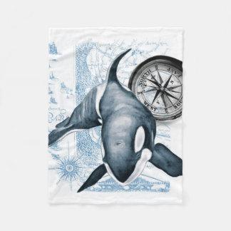 シャチのクジラのコンパス フリースブランケット
