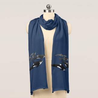シャチのクジラのスカーフのシャチの芸術のスカーフのギフト スカーフ