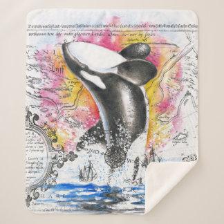 シャチのクジラのヴィンテージの地図の虹を破ること シェルパブランケット