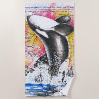 シャチのクジラのヴィンテージの地図の虹を破ること ビーチタオル