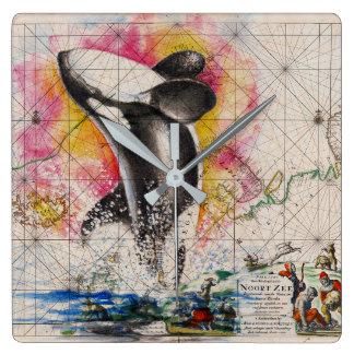 シャチのクジラの地図 スクエア壁時計