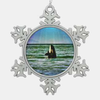 シャチのクジラの虹の休日のオーナメント スノーフレークピューターオーナメント