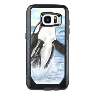 シャチのクジラを破る水彩画 オッターボックスSamsung GALAXY S7 EDGEケース