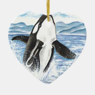 シャチのクジラを破る水彩画 セラミックオーナメント