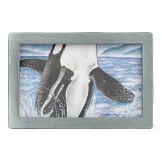 シャチのクジラを破る水彩画 長方形ベルトバックル