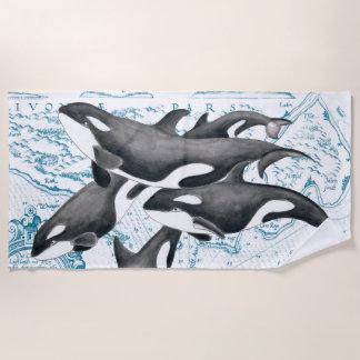 シャチのクジラ家族のヴィンテージの地図 ビーチタオル