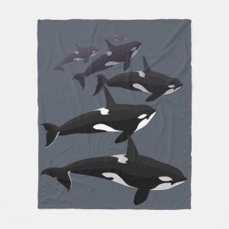 シャチのクジラ毛布のシャチのフリースブランケット フリースブランケット