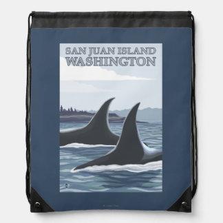 シャチのクジラ#1 -サンファン島、ワシントン州 ナップサック