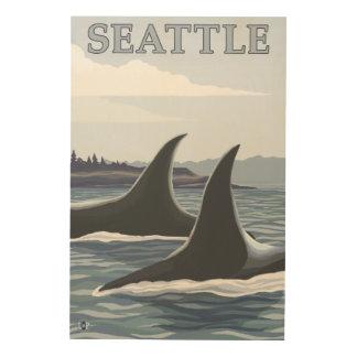 シャチのクジラ#1 -シアトル、ワシントン州 ウッドウォールアート
