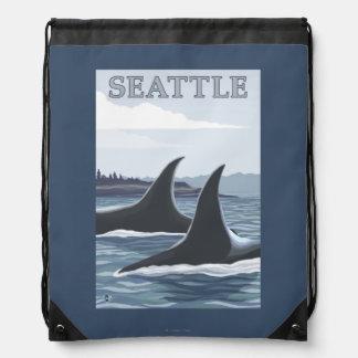 シャチのクジラ#1 -シアトル、ワシントン州 ナップサック