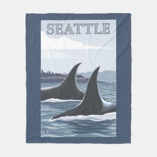 シャチのクジラ#1 -シアトル、ワシントン州 フリースブランケット