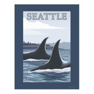 シャチのクジラ#1 -シアトル、ワシントン州 ポストカード