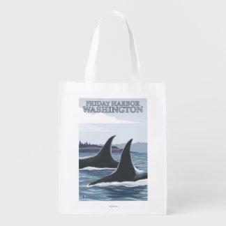 シャチのクジラ#1 -金曜日港、ワシントン州 エコバッグ
