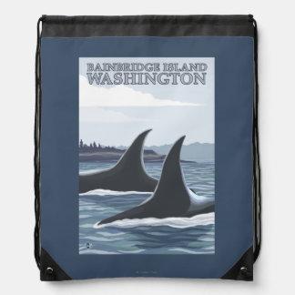 シャチのクジラ#1 - Bainbridgeの島、ワシントン州 ナップサック