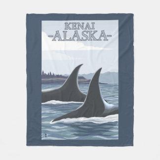 シャチのクジラ#1 - Kenai、アラスカ フリースブランケット