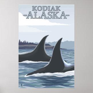 シャチのクジラ#1 - Kodiak、アラスカ ポスター